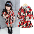 2017 New arrival Girls Clothing Sets Coat + skirts 2pcs Jacket suits minnie bow Kids clothes Children Fashion Free Shipping