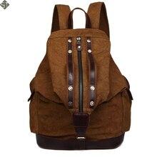 Винтаж Кожа военная Холст рюкзак мужской рюкзак школьные сумки Мода рюкзак 2016 bagpack рюкзак Школа Сумка