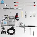 OPHIR 2 Double Action Airbrush Kit with Air Compressor for Model Hobby Temporary Tattoo Air Brush Spray Gun_AC089+AC004+AC070