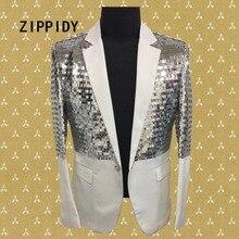 Plus Size S-4XL Korean Version Silver Sequins Men's Suit Jacket Bar Male Singer Sparkly Blazer Costume Dj Performance Party Wear