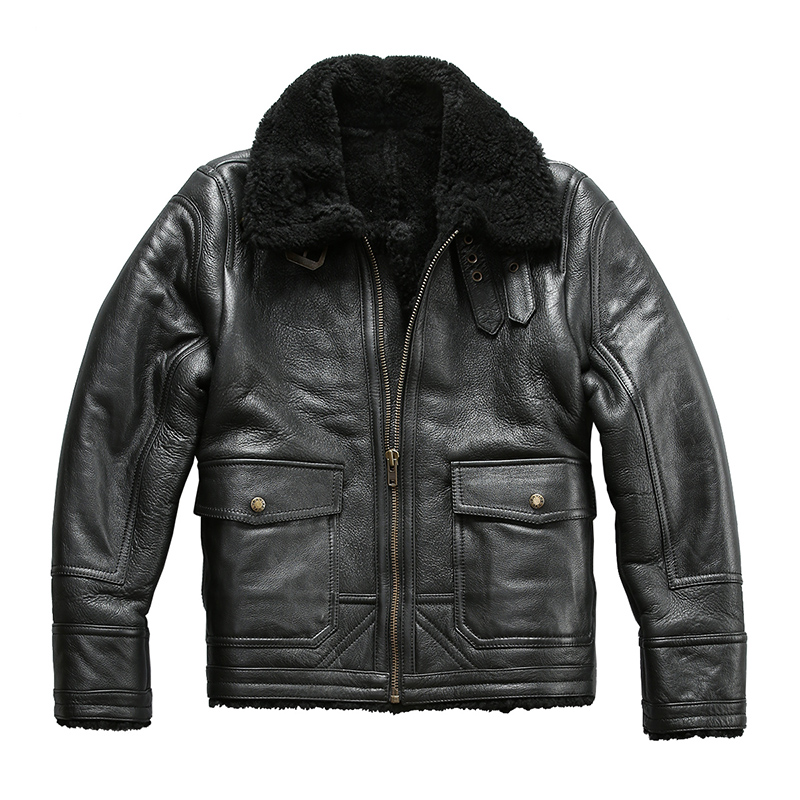 Winter Größe 8019 Herren Leder Super Lesen Jacke Schafe Warme Beschreibung Pelz Bomber Große Lammfell Qualität Echte qCSOHfwCa
