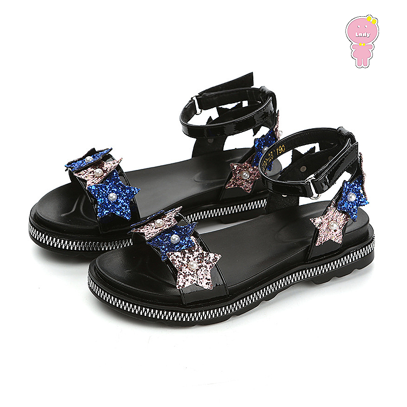Summer girls sandals baby beach shoes kids shoes children quality sandals fashion pearl glitter star patch 3 to 14 yrs|Sandals| |  - title=