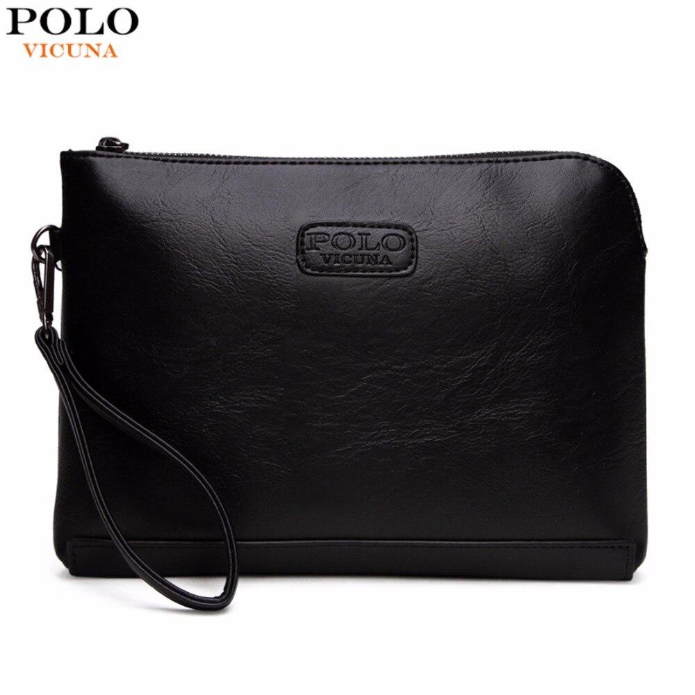 Bolso de mano para hombre tipo sobre estilo inglés VICUNA POLO bolso de mano de gran capacidad con correa y cierre de apertura billetera de hombre