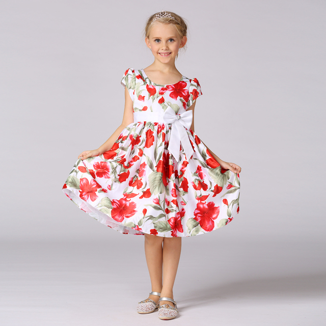 Retail girl dress with floral pattern kids girl communion dress baby girl clothes with bow-knot  LM112