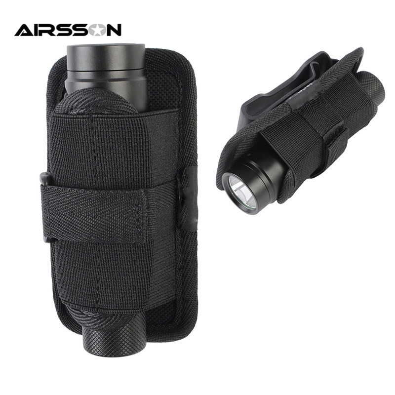 Outdoor Rotatable Tactical Flashlight Holster Case Combat Utility Pouch Durable Electronic Torch Hunting Belt Carrier