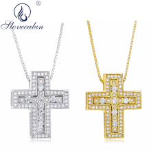 Slovecabin Original 925 Sterling Silver Double Cross Pendant Men Necklaces Japanese Christian Chain Collier Jewelry