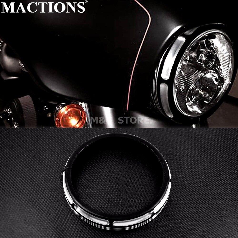 "Motorcycle Black 7"" Burst Headlamp Trim Ring For Harley Touring Street Glide Road King Trikes FLHX FLHR FLH/T 1996-18 2019 2020(China)"