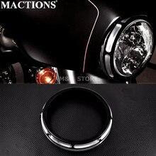 "Motorcycle Black 7"" Burst Headlamp Trim Ring For Harley Touring Street Glide Road King Trikes FLHX FLHR FLH/T 1996 18 2019 2020"