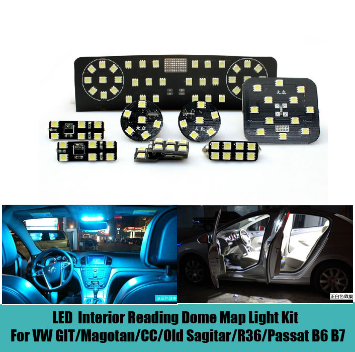 8 pcs car led interior reading dome map light kit glove box trunk visor light for git magotan cc. Black Bedroom Furniture Sets. Home Design Ideas