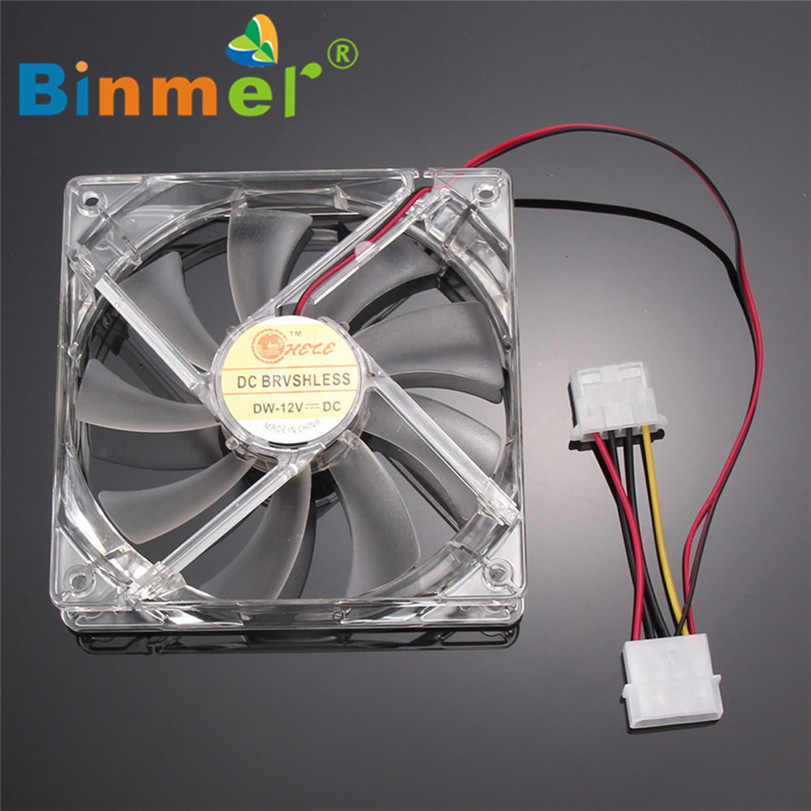 BINMER 120x120x25mm 4 Pin Computer Fan Bunte Quad 4-LED Licht Neon Klar 120mm PC Computer Fall Lüfter Mod C0608