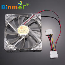BINMER 120x120x25mm 4 Pin Computer Fan Bunte Quad 4-LED Licht Neon Klar 120mm PC Computer Fall Lüfter Mod C0608(China)