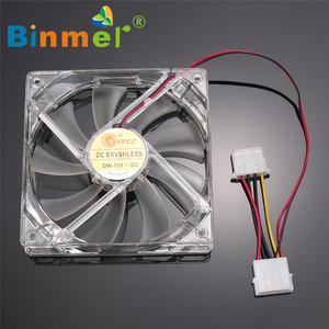 Image 1 - BINMER 120 x 120 x 25mm 4 Pin Computer Fan Colorful Quad 4 LED Light Neon Clear 120mm PC Computer Case Cooling Fan Mod C0608