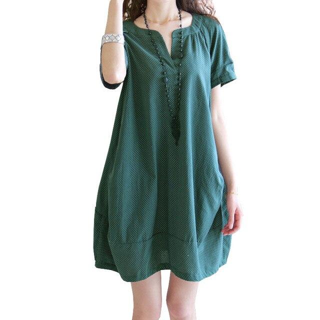 6b5e04aaab42d Korean Fashion Maternity Dresses Dots Linen V Neck Autumn Summer Loose  Clothes For Pregnant Women Pregnancy