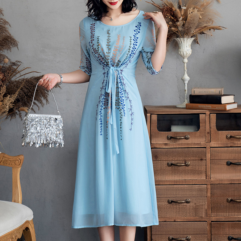 Chiffon Dress Summer Women 39 s Fashion 2019 New Embroidered Round Neck Half Sleeves Lace up Waist Slim A Line Elegant Blue Dress in Dresses from Women 39 s Clothing