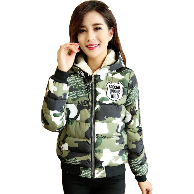 2019 New Arrival Winter   Jacket   Women Camouflage Hooded Outwear   Basic     Jacket   Padded Autumn Short Female Coat Casaco Feminino