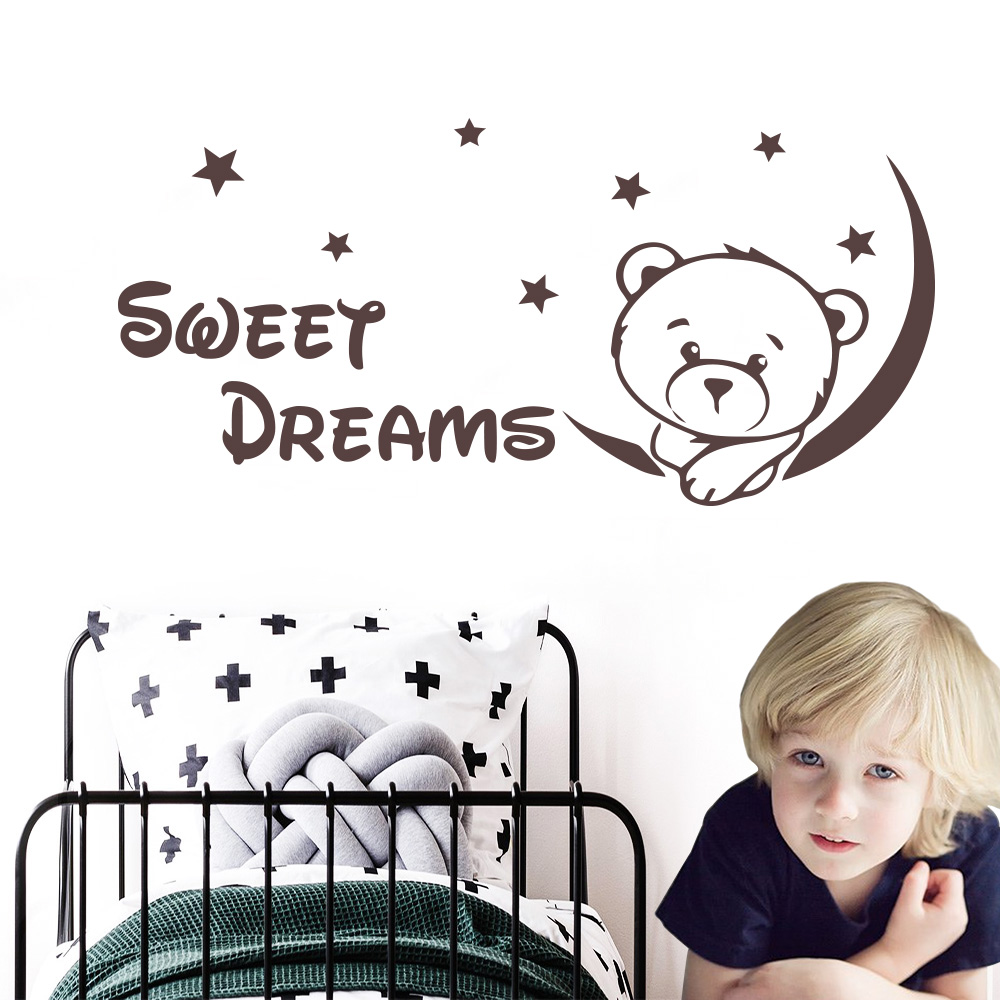 Cute Bear Quote Sweet Dreams Wall Stickers Vinyl Decor for baby kids room Bedroom Decorations Decal mural wallstickers