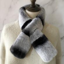 Real Rex Rabbit Fur Scarf Women Chinchilla Color Natural Fur Scarves