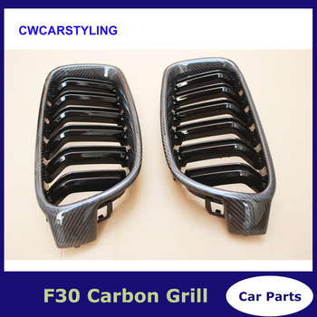 Genuine carbon fiber 3 series f30 f31 grill dual slat glossy black grille for bmw 3 series 318i 320i 328i 330i 335i