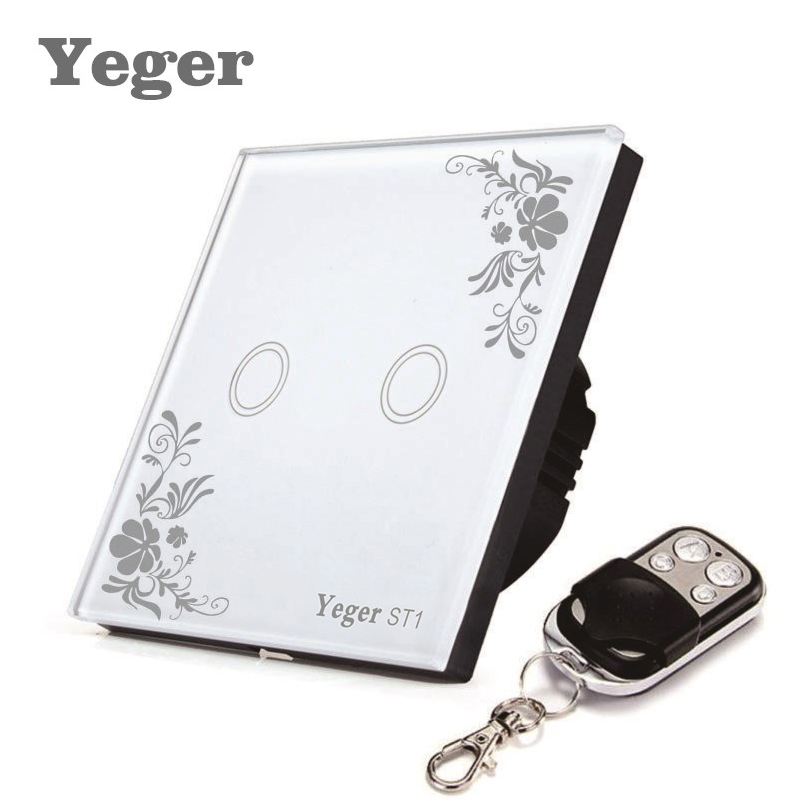 Yeger EU Standard Smart Wall Switch Remote Control Switch 2 Gang 1 Way Wireless Remote Control Touch Light Switch smart home uk standard crystal glass panel wireless remote control 1 gang 1 way wall touch switch screen light switch ac 220v