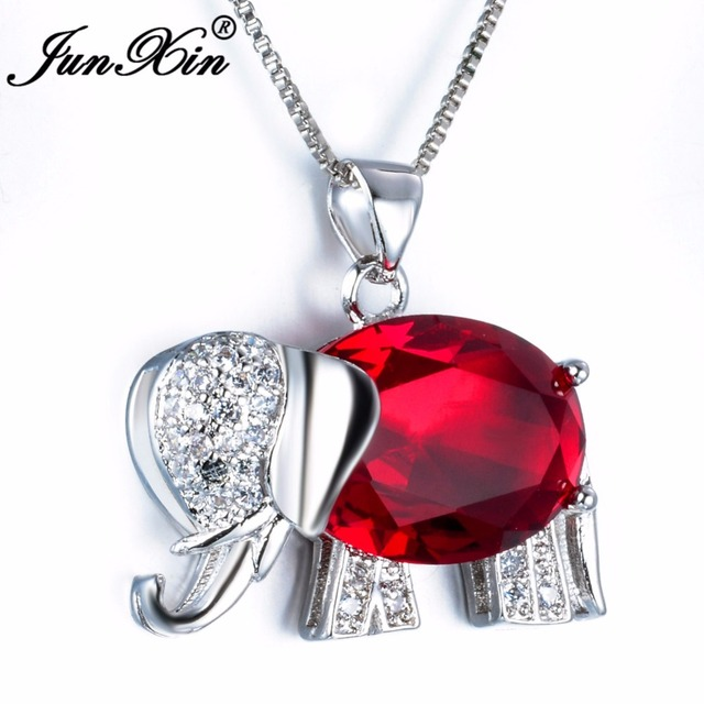 1d512a0826 JUNXIN Women Red Elephant Necklace New Fashion Animal Jewelry 925 Sterling  Silver Filled Wedding Necklaces Pendants Gifts