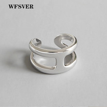 WFSVER 925 sterling silver ring glossy double layer minimalist rings for women gift fashion opening adjustable fine jewelry