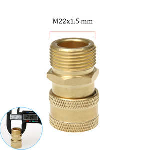 """Image 3 - High Pressure Washer Brass Connector Adapter M22 Male 1/4"""" female Car Washer Quick Connection Adapter with 5 Car Washing Nozzles"""