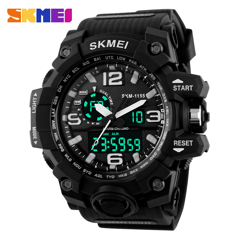 SKMEI Big Dial Dual Time Display Sport Digital Watch Men Chronograph Analog LED Electronic Wristwatch Military Double Time 1155