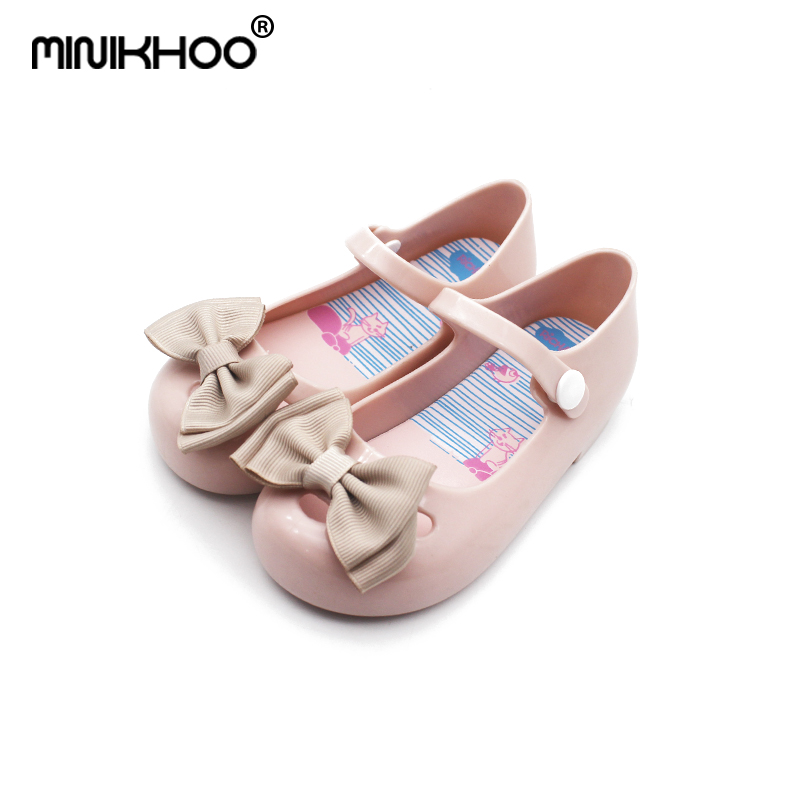 Mini Melissa Cloth Bow Girl Jelly Sandals 2018 New Melissa Beach Sandals 14.5-17cm Non-slip Melissa Toddler Sandals For Baby