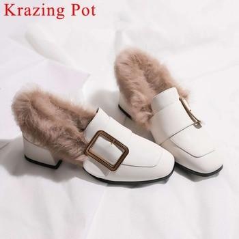 2019 simple style square toe movie stars med heels slip on metal fastener warm real fur art design plus size leisure pumps L05