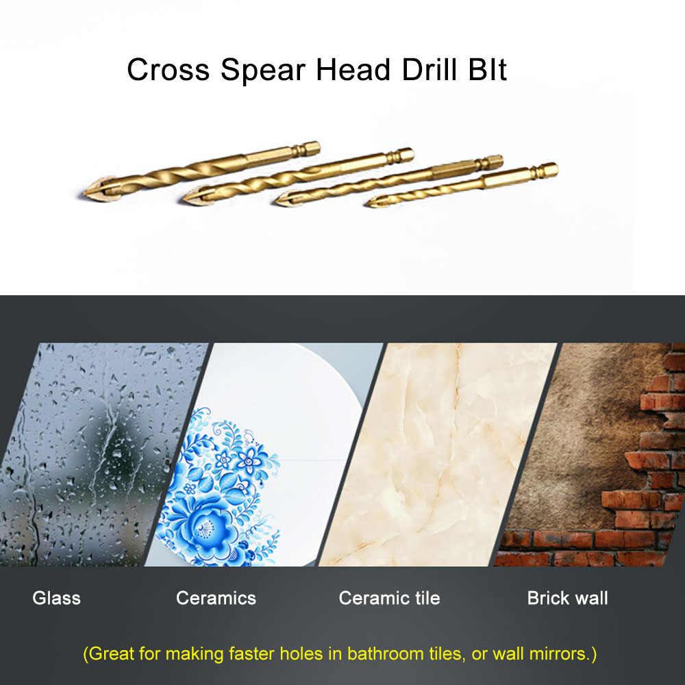Titanium Tungsten Gecoat Glas Boor 6/8/10/12mm Hex Schacht Tegel Glas Spiegel Cross Spear Head Boren Bit