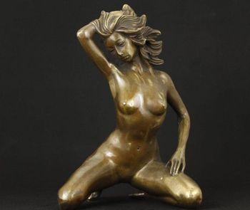 Chino Viejo Trabajo Hecho A Mano Cobrable Agradable de La Vendimia de Bronce Grande Ornamento Estatua Belle Figura de decoración de tiendas de fábrica de bronce De Fundición