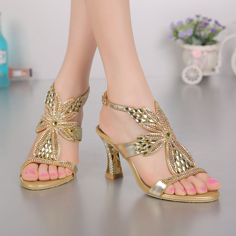 2015 Fashion Champagne Purple Gold Sandals Foral Crystal Prom Party Shoes  Summer Bridal Wedding Shoes Ankle Strap Chunky Heels-in Women s Sandals  from Shoes ... 13ac922cd992