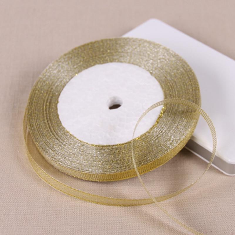 25 метров 6 мм Золотой шелковой атласной лентой партия дома Свадебные украшения подарочной упаковкой Рождество Новый год DIY Материал