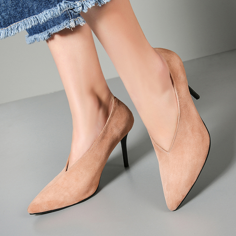 ФОТО 2017 Spring New Women's Sexy Thih High Heel Pointe Toe Pumps Brand Designer Genuine Suede Leather OL Style Ladies Heeled Shoes