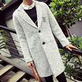 New Spring Fashion X-long Coat Men Solid Letter Print Wool Long Trench Coat Loose Casual Woolen Pea Coat Overcoat jaqueta Gray
