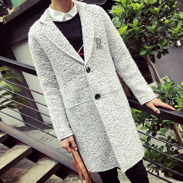 Nova Primavera Moda X-Casaco longo Dos Homens Carta Impressão de Lã Sólida longo Trench Coat jaqueta casaco de Ervilha Casaco de Lã Solta Casuais cinza