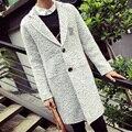 Nueva Primavera Moda X-abrigo largo Hombres Impresión de la Letra de Lana Sólida Gabardina larga Ocasional Flojo de Lana Pea Coat Abrigo jaqueta gris