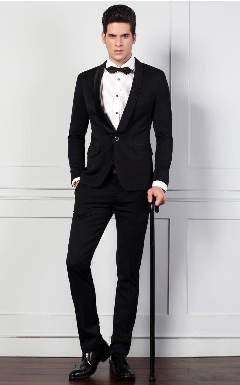 Aliexpress.com : Buy Classic Black Slim Fit Groom Tuxedos Men ...