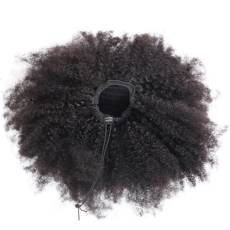 Ponytails Human Hair 4B 4C Mongolian Afro Kinky Curly Hair 1 Piece Ponytail Clip In Extensions Natural Black Remy Hair Comingbuy