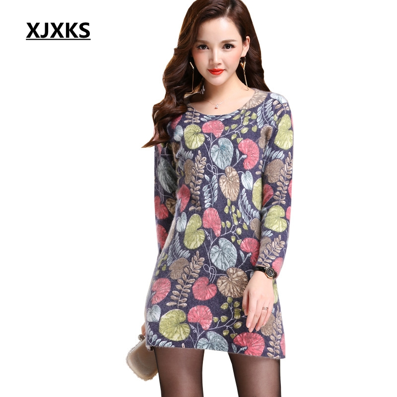 XJXKS Women Print Long Sweater High Quality Cashmere Pullover Fashion Casual Christmas Sweater Nice Woman Clothing