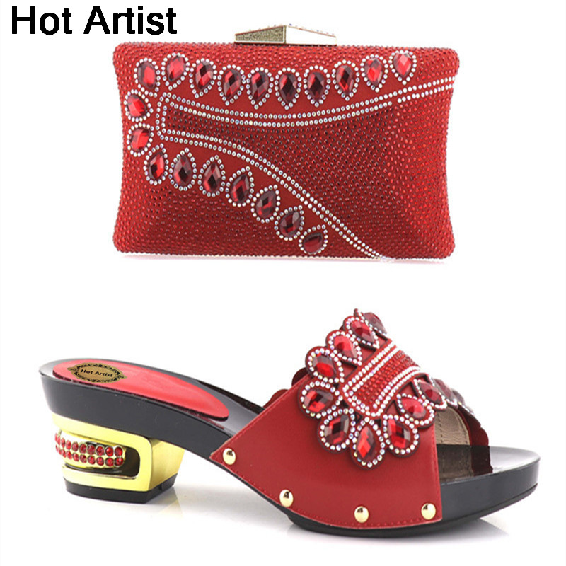 Hot Artist Nice Design Italian Shoes With Bags Latest Rhinestone African Women Low Heels Shoes and Bags Set For Party YH-09 hot artist new arrival african rhinestone shoes and bag set italian woman heels shoes with bag set for party size 37 43 yh 04