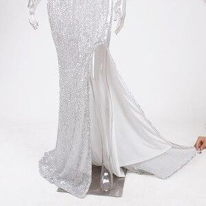 Image 5 - Gümüş Payetli Maxi Elbise Bölünmüş Ön Kapalı Omuz Bodycon Kat Uzunluk Elbise Zarif Mermaid Elbise