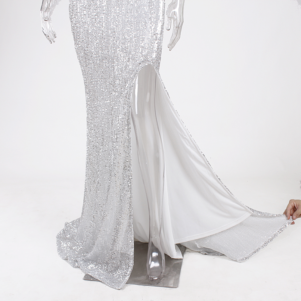 Image 5 - Silver Stretchy Sequined Maxi Dress Split Front Off the Shoulder Bodycon Floor Length Dress Elegant Mermaid Dress Green Gold-in Dresses from Women's Clothing