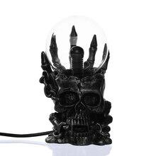 1 шт. сокровище череп Сенсорный электронный светящийся Хэллоуин магический шар форма плазма Сфера Туманность молния лампа 10 см