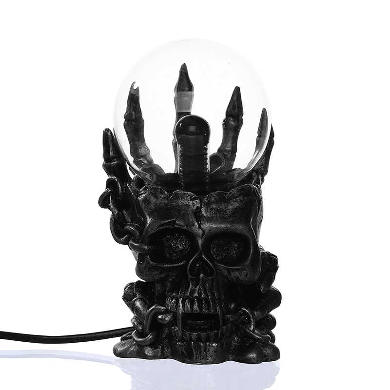 1Piece Treasure Skull Touch Electronic Luminous Magic Ball Form Plasma Sphere Nebula Lightning Lamp 10cm
