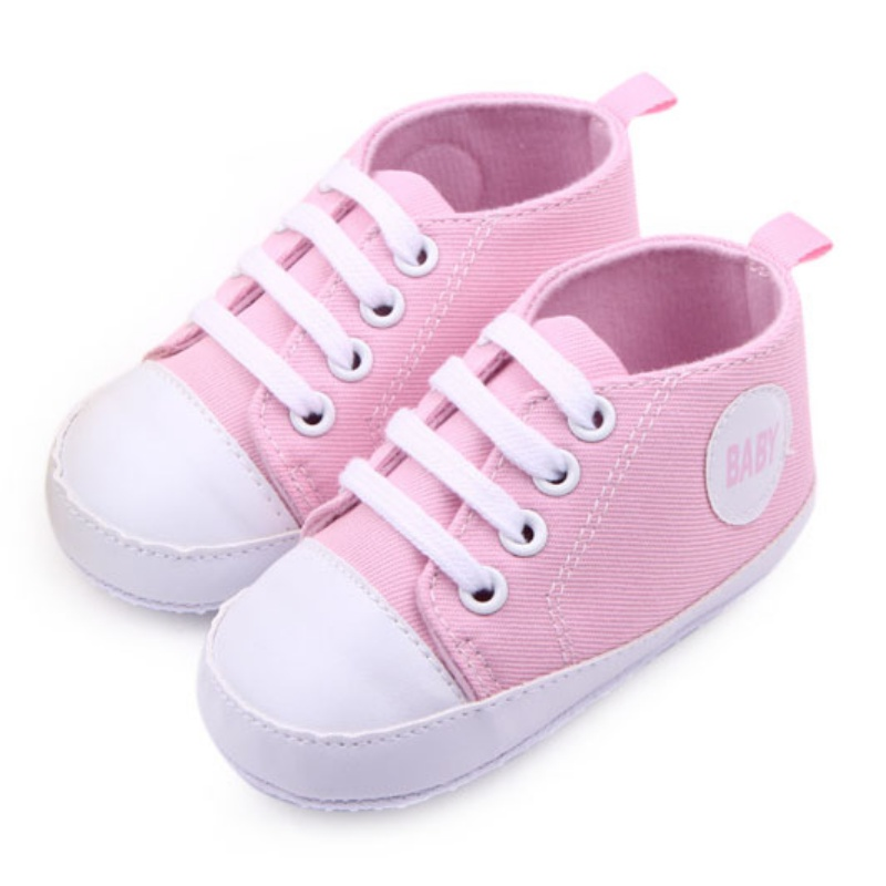 Infant Newborn Baby Girl Sports Sneakers Children Boys Shoes Soft Sole Bottom Prewalkers Canvas Cotton Lace Up Crib Shoes