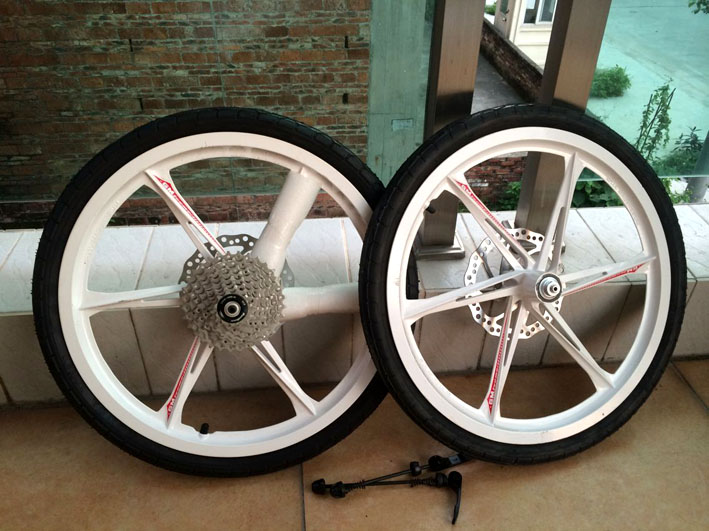 20 inch 406 magnesium alloy one piece wheel front and rear disc brakes city road bike wheelset with frame and fork front hub city road lion disc brakes front wheel tire rims