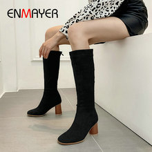 ENMAYER 2019 Women Boots Zip Knee-High Round Toe Fashion Faux Suede Slim Boots Winter Shoes Square Heel  Riding Boots Size 34-43 asumer big size 33 43 fashion over the knee boots round toe zip autumn winter boots faux suede ladies thight high boots 2018 new