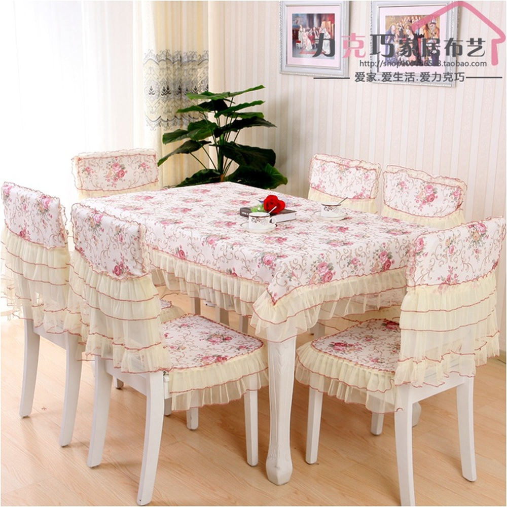 A high cost pastoral dining table cloth non-slip chair covers cushion backrest restaurant dress soft supple fine lace tablecloth