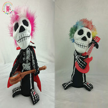 Twist Body skull ghost play guitar KUSO doll Halloween Thriller Night electric plush doll Sounding lighting toy birthday gifts(China)